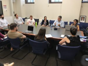 Nick Rasmussen meets with law students.