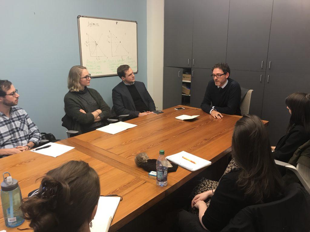 Alexander Bick speaks to NYU law students