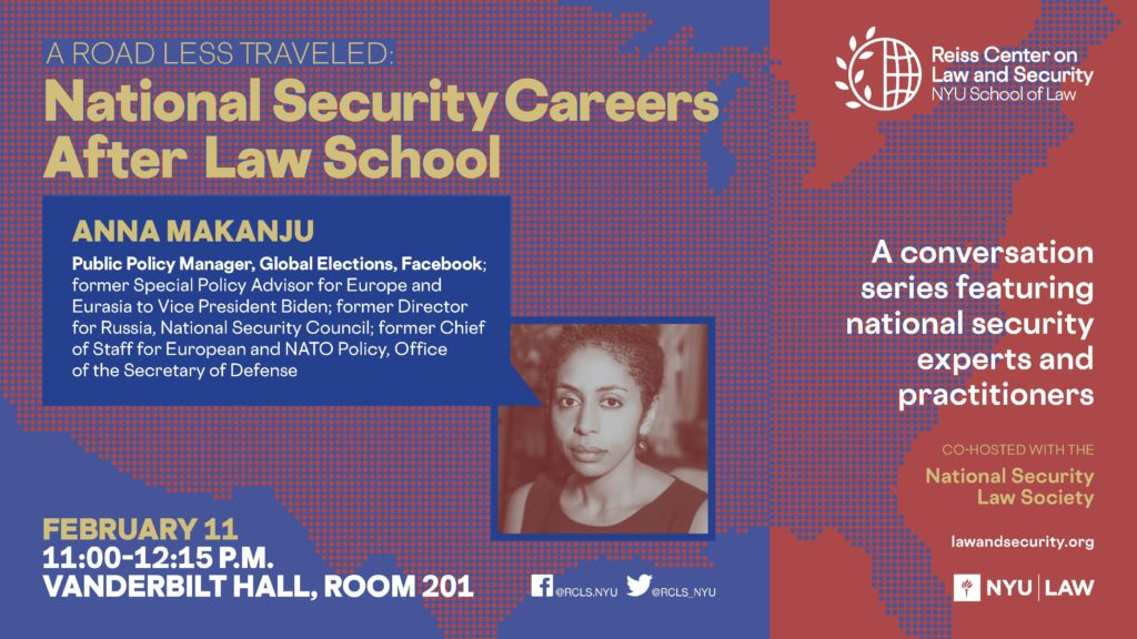 E-sign for career talk with Anna Makanju on February 11, 2020 from 11 AM- 12:15 PM in Vanderbilt Hall, Room 201