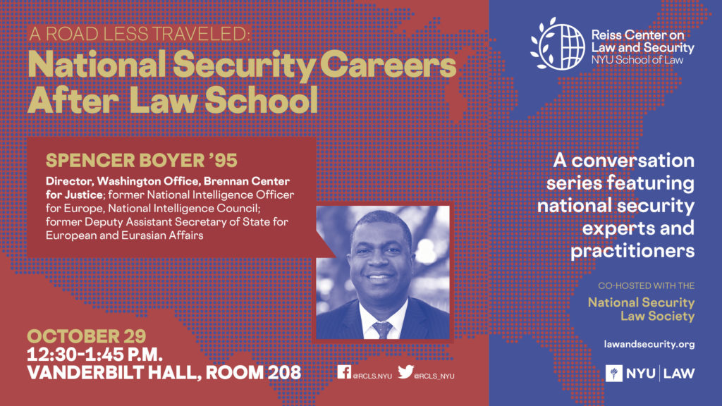 E-sign for Spencer Boyer Career Talk, October 29, 12:30-1:45PM, Vanderbilt Hall 208