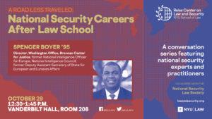 E-sign for Spencer Boyer Career Talk, October 29, 12:30-1:45PM, Vanderbilt Hall 208