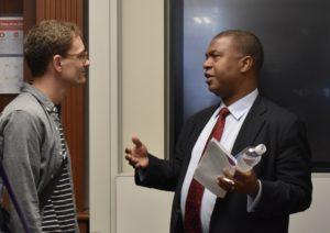 Spencer Boyer speaks with student